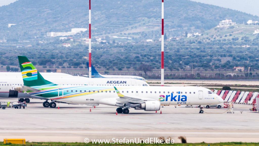 Embraer ERJ-195AR 4X-EMA, LGAV (ATH) Flughafen Athen, AIZ (IZ) Arkia, Flugzeuge 2022