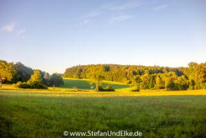 Morgensonne auf der schwäbischen Alb, Baden-Württemberg, Deutschland