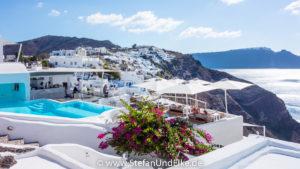 Der Ort Oia, Insel Santorini, Griechenland