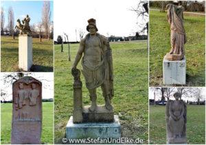 Skulpturen im Römerpark in Köngen, Baden-Württemberg, Deutschland