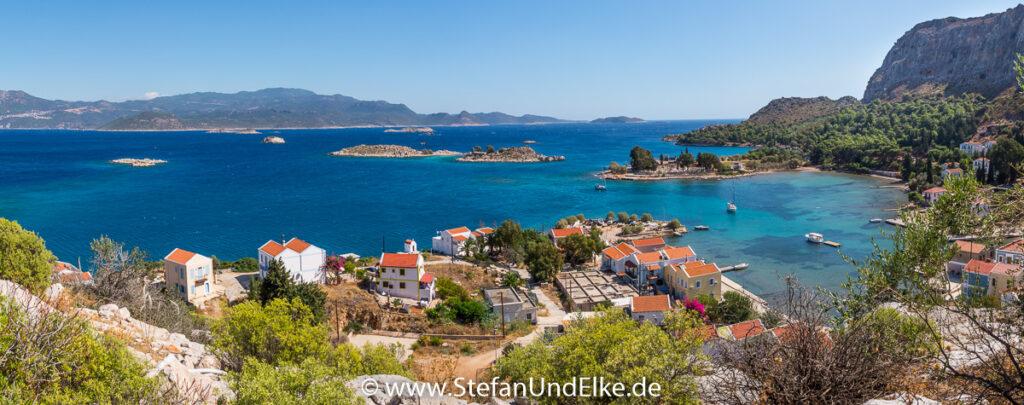 Griechenland, Urlaub, Blick vom Kastell auf die Mandraki-Bucht, Insel Kastellorizo