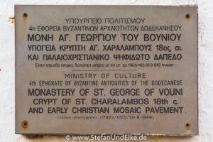 Das  Kloster Agios Georgios tou Vouniou auf Kastellorizo, Griechenland