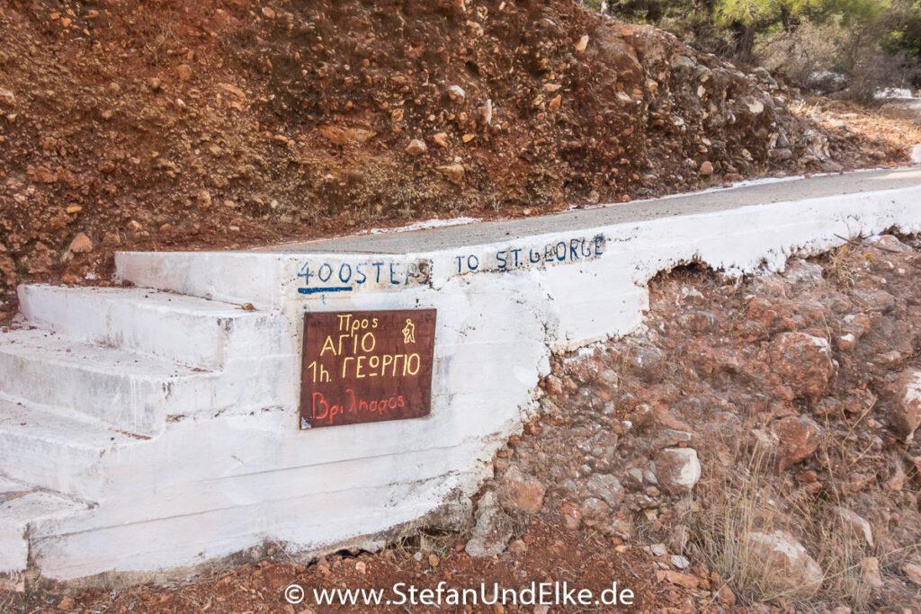 Der Aufstieg zum Kloster Agios Georgios, Kastellorizo, Griechenland