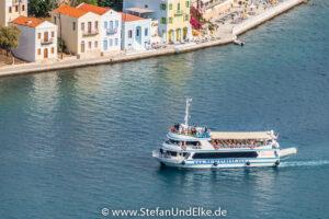 Griechenland, Urlaub,  Täglich zu Gast in Kastellorizo sind Ausflugsboote aus dem türkischen Kaş