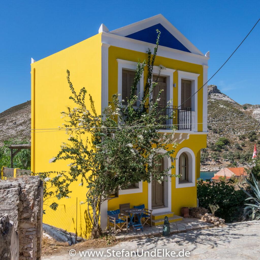 Kapitänshäuser auf der Insel Kastellorizo, Griechenland