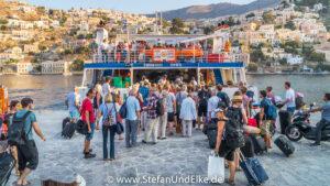 Insel Symi, Ortsteil Gialos, Ankunft am Hafen